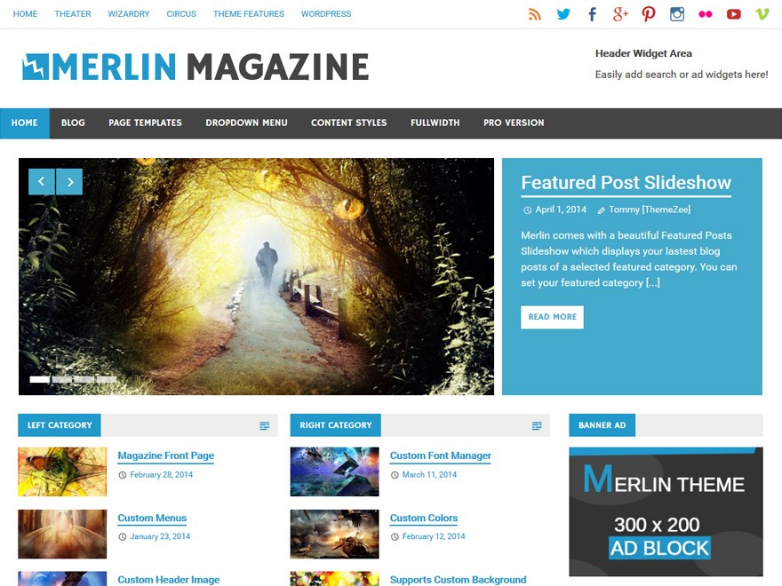 Free Merlin Wordpress Theme