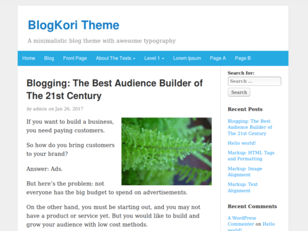 Free BlogKori Wordpress Theme