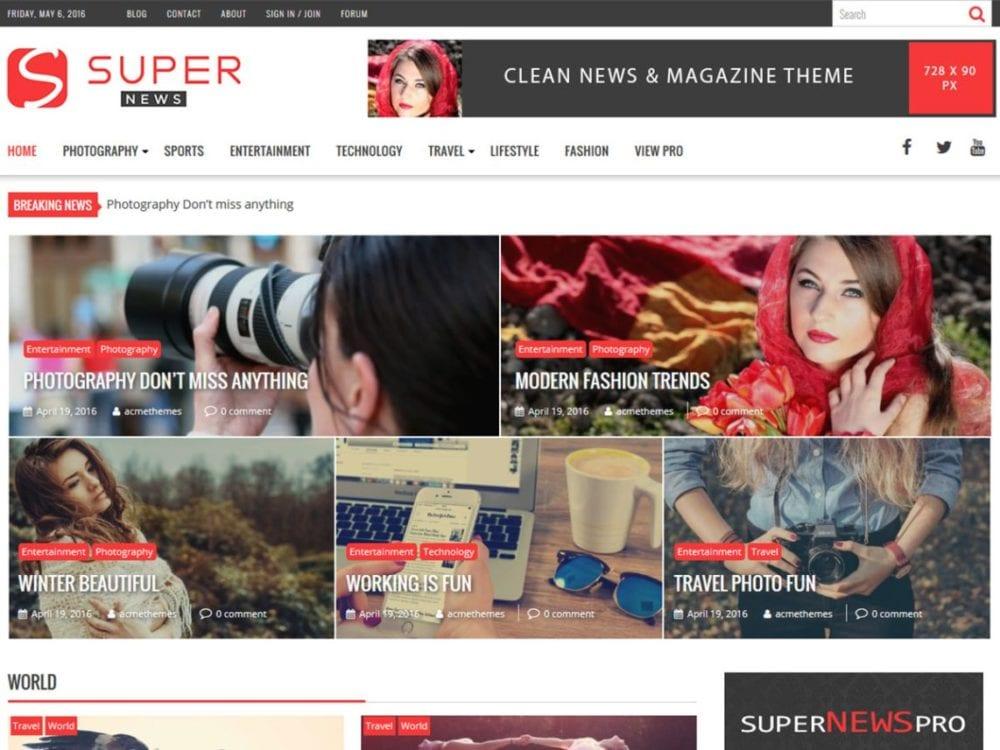 Free SuperNews Wordpress Theme