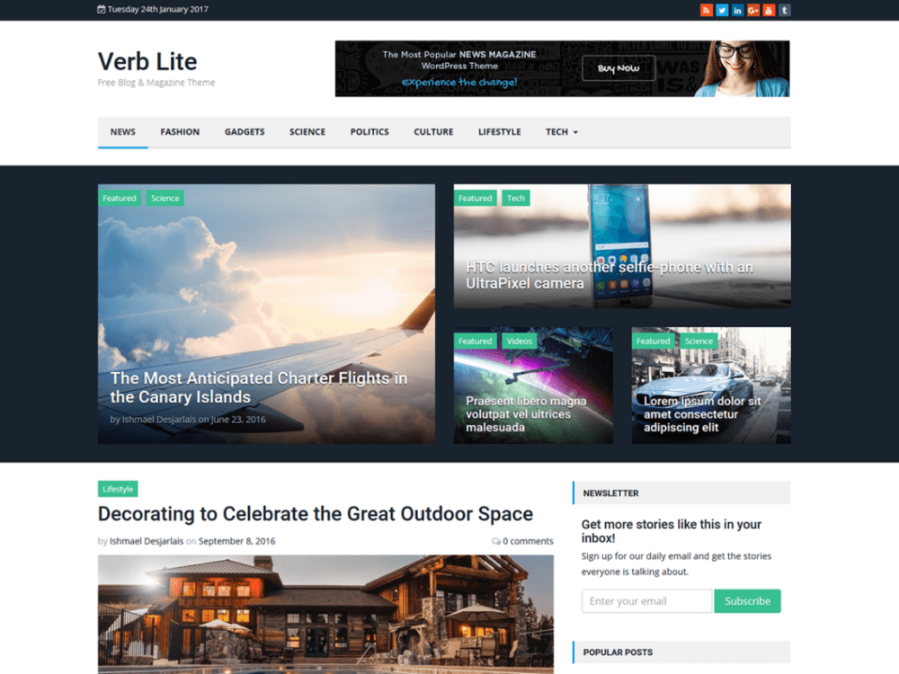 Free Verb Lite Wordpress Theme