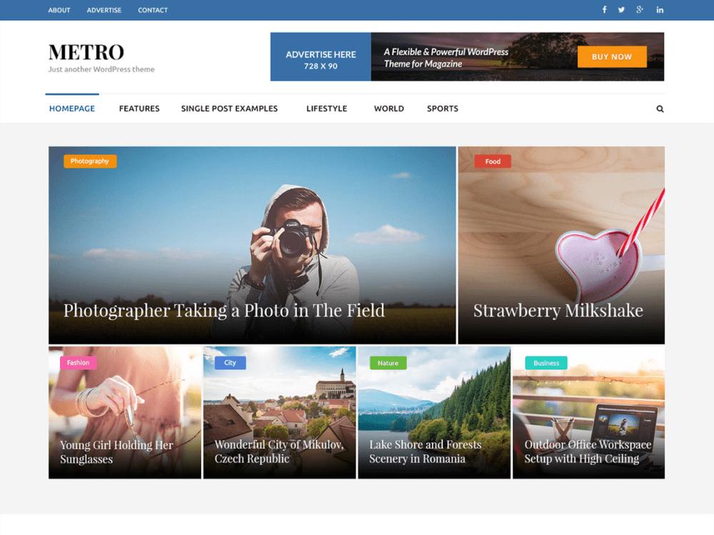 Free Metro Magazine Wordpress Theme