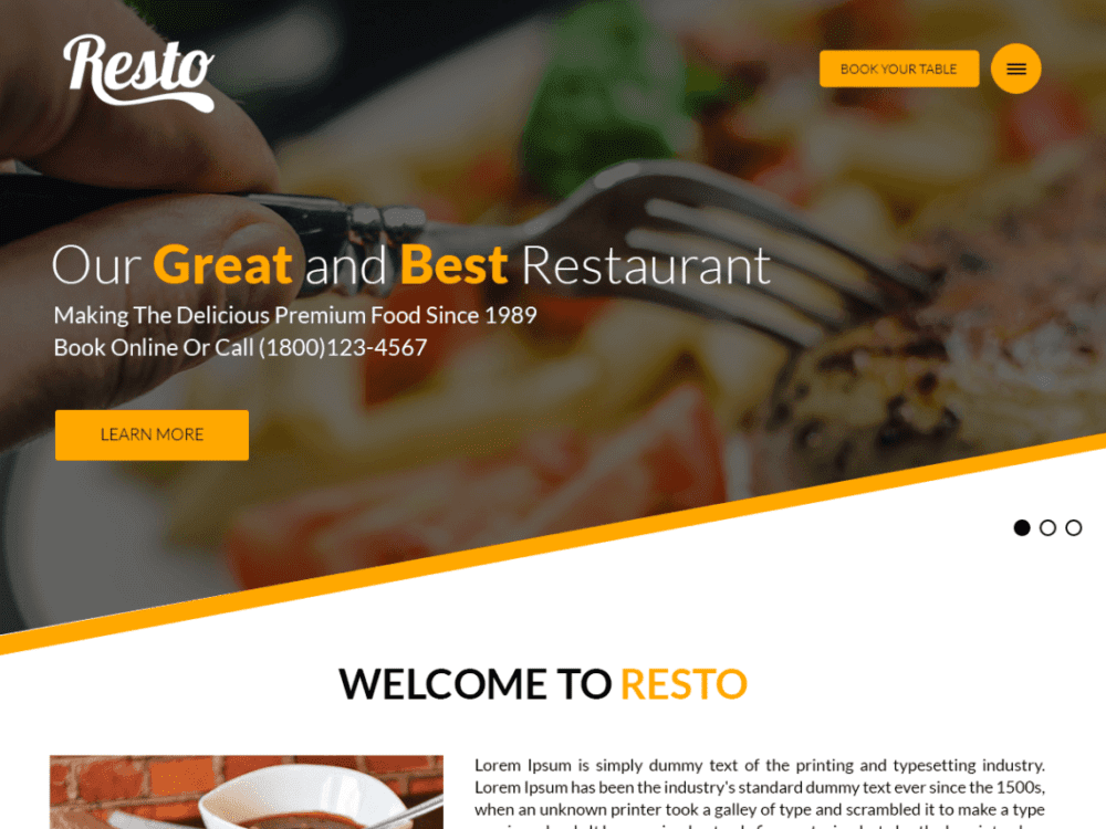 Free Resto Wordpress theme
