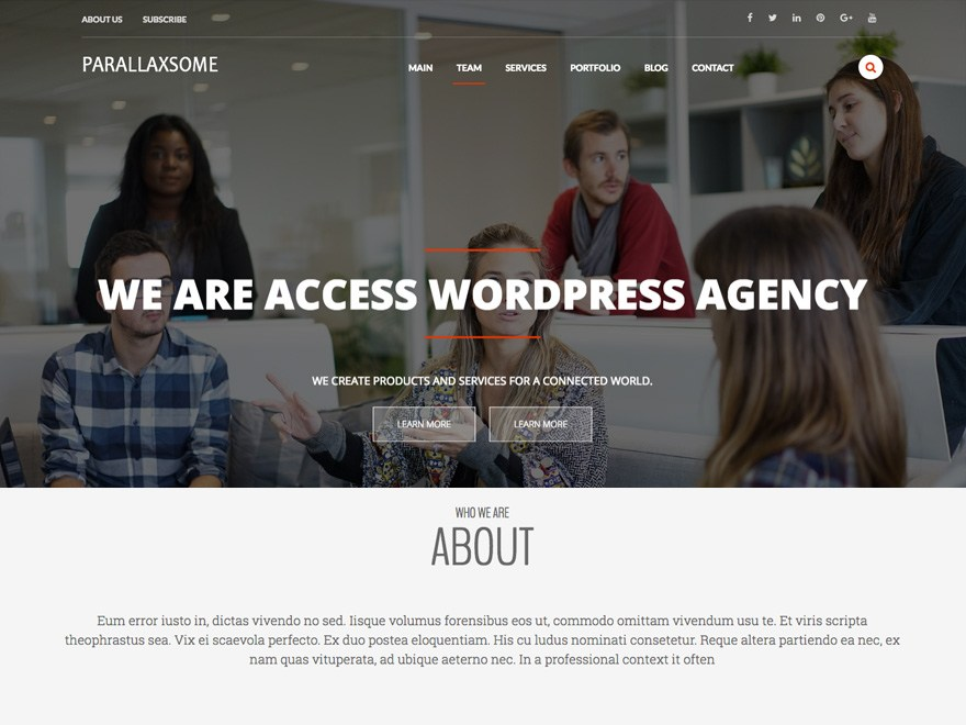 Free ParallaxSome WordPress theme