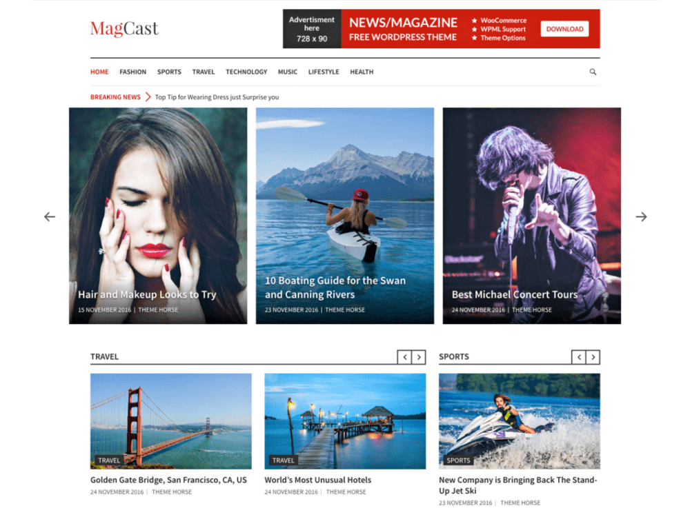 Free Magcast Wordpress Theme