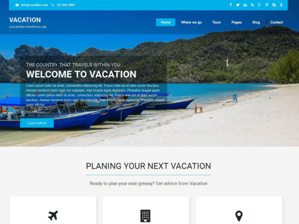 Free Vacation Lite Wordpress theme