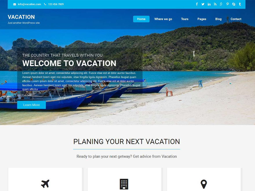 Free Vacation Lite Wordpress theme
