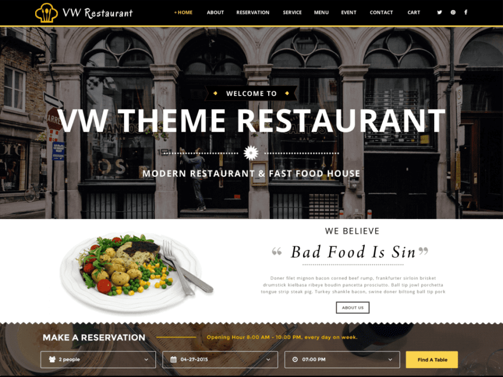 Free Food Restaurant WordPress theme