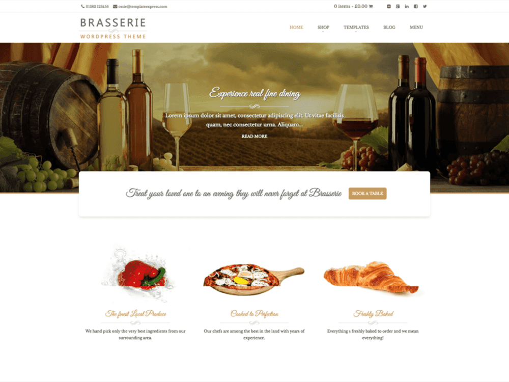Free Brasserie Wordpress theme