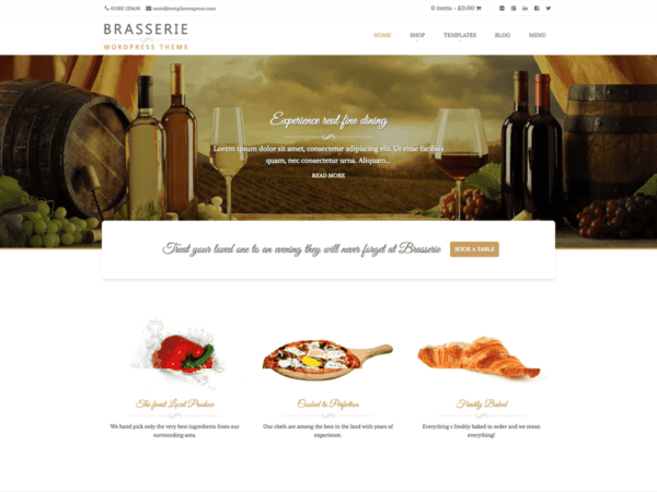 Free Brasserie Wordpress theme