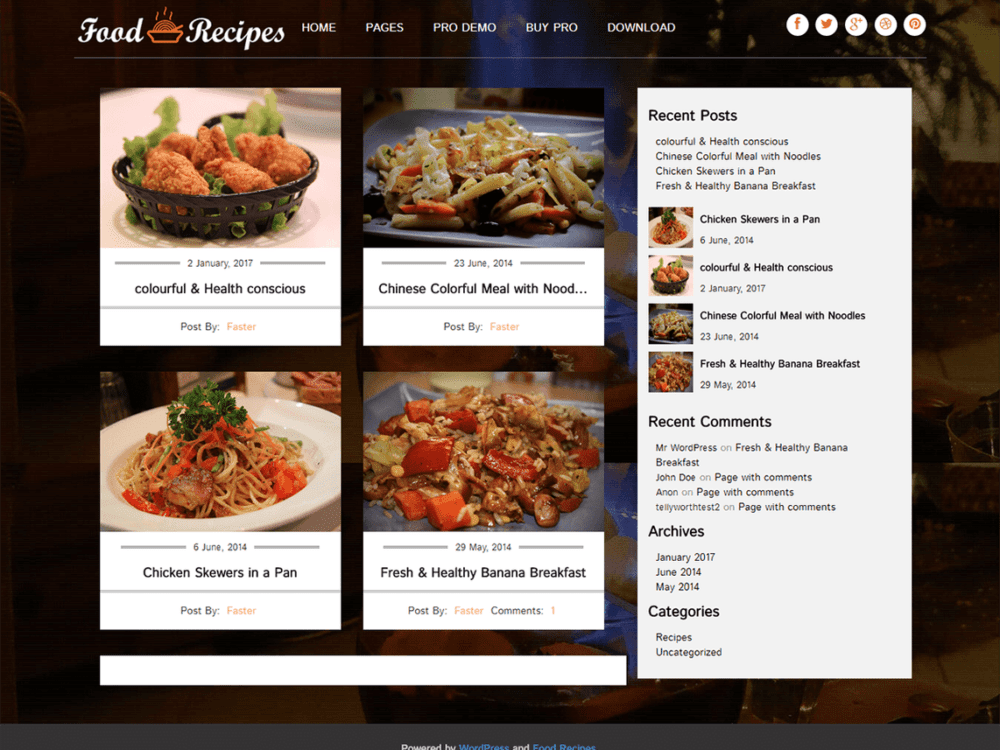 Download free food recipes wordpress theme justfreewpthemes free food recipes wordpress theme forumfinder Choice Image