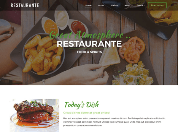 Free Restaurante Wordpress theme