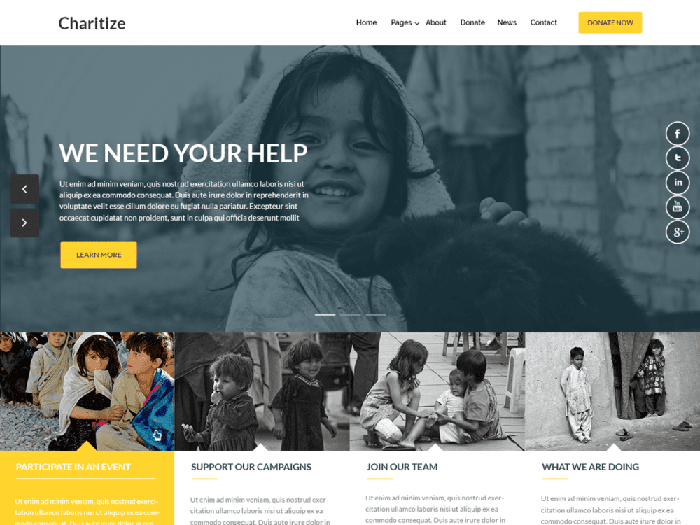 Free Charitize Wordpress theme
