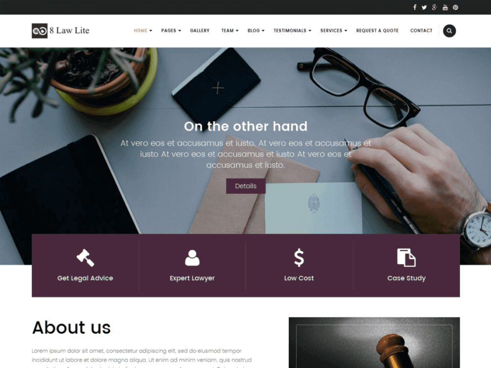 Free EightLaw Lite Wordpress theme
