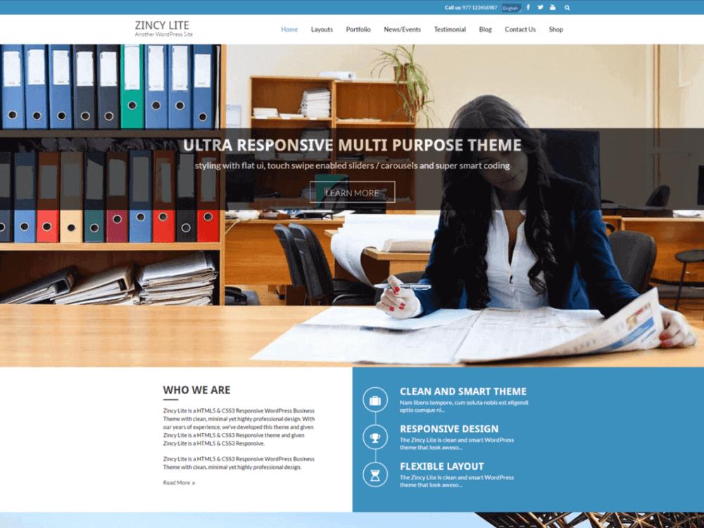Free Zincy Lite Wordpress theme