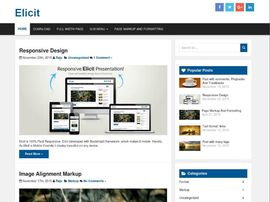 Download Free Elicit Wordpress theme - JustFreeWPThemes