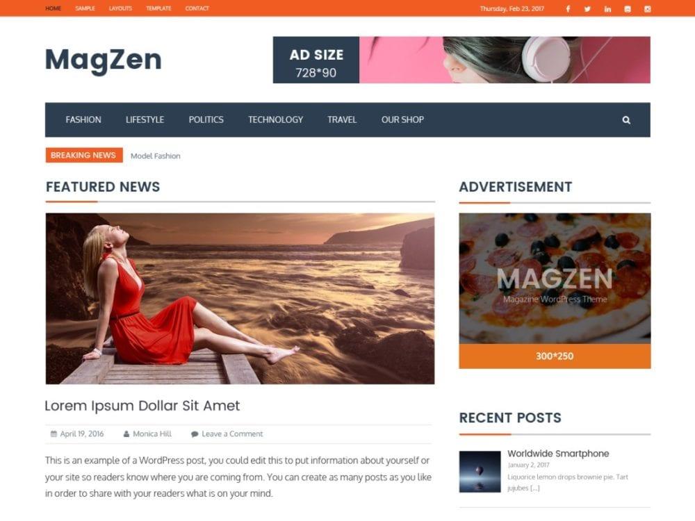 Download Free MagZen Wordpress theme - JustFreeWPThemes
