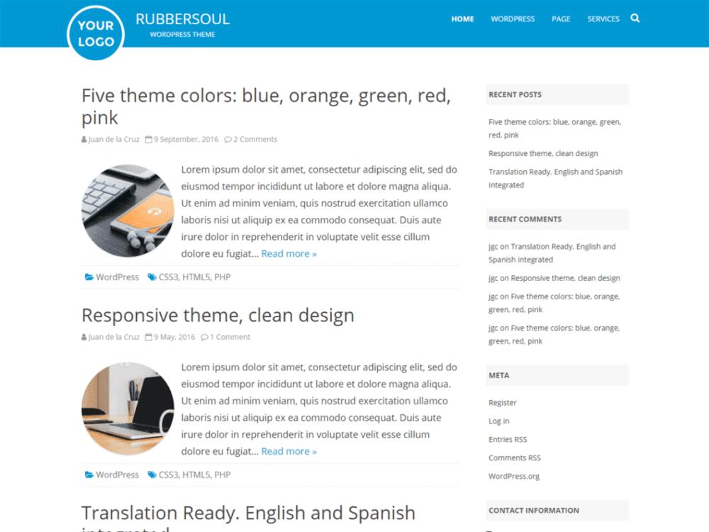 Download Free Rubber Soul WordPress theme - JustFreeWPThemes