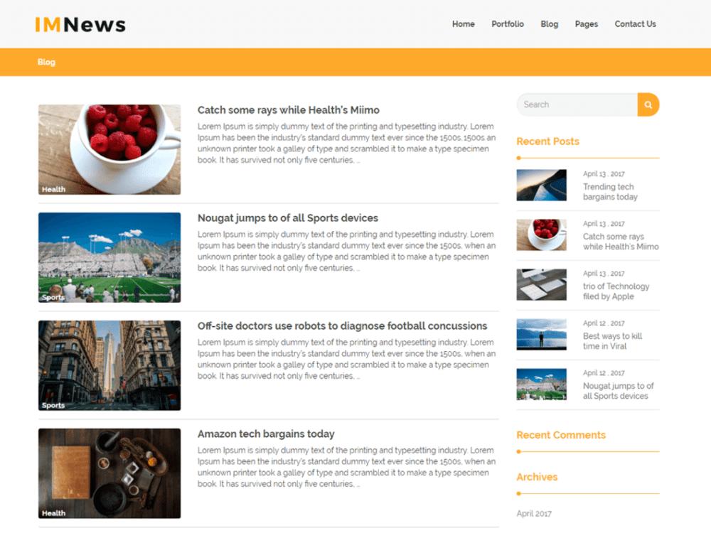 health blog theme wordpress free  Download Free IMNews WordPress theme - JustFreeWPThemes