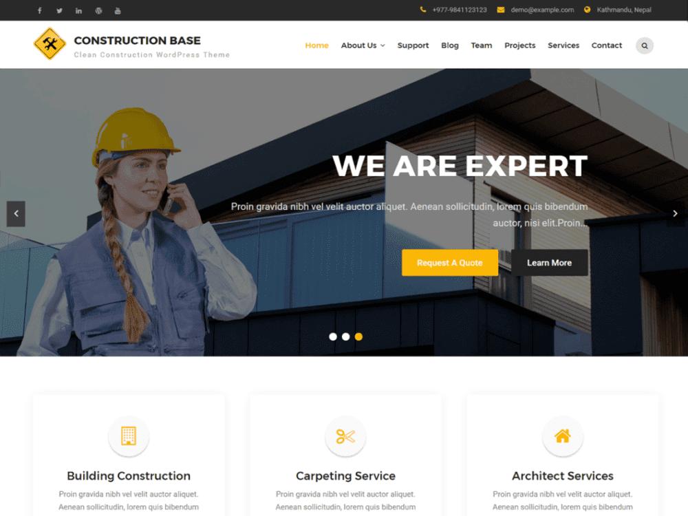 Free Construction Base Wordpress theme