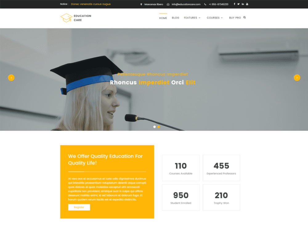 Free Education Care Wordpress theme