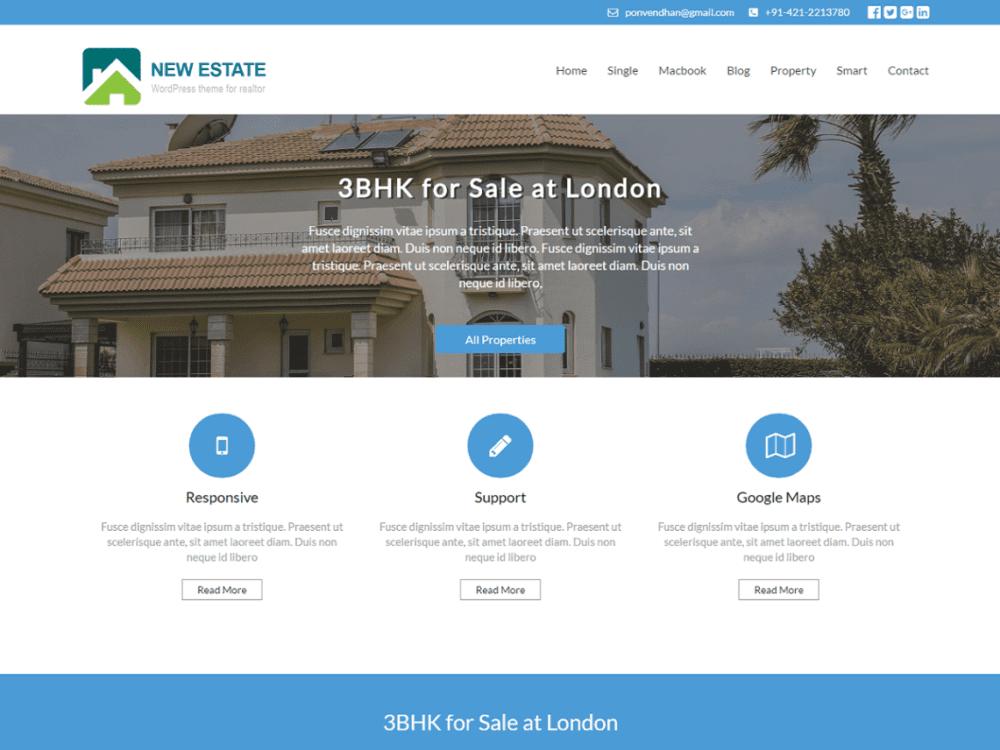 Free New Estate Wordpress theme