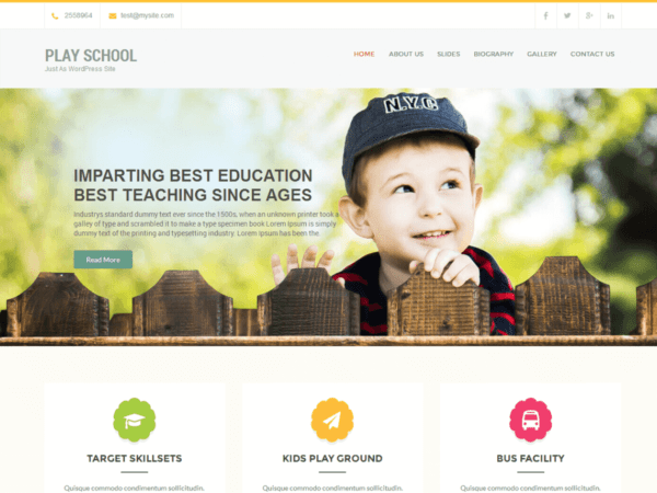 Free Play School Wordpress theme