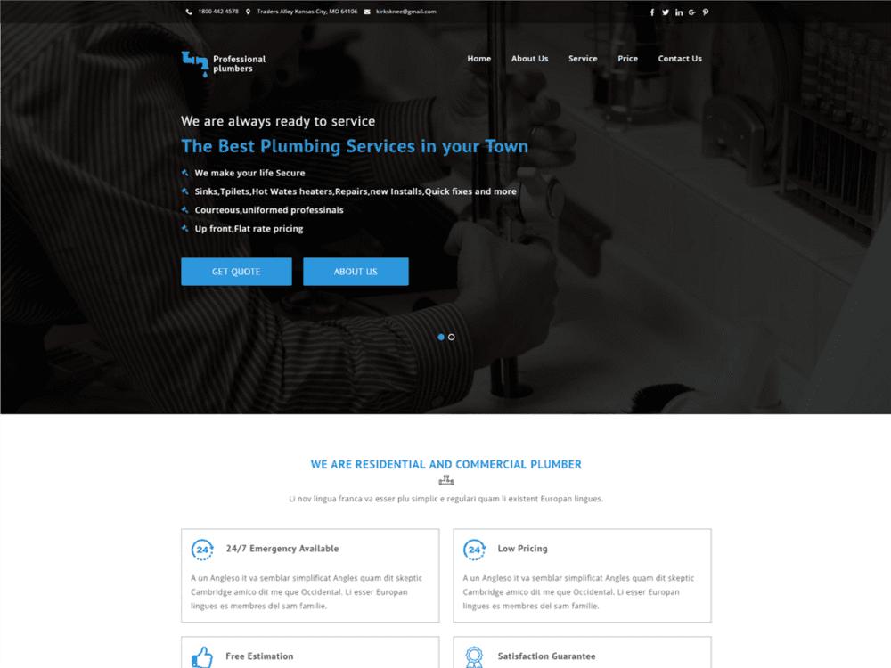 Download Free Plumbers Wordpress theme - JustFreeWPThemes