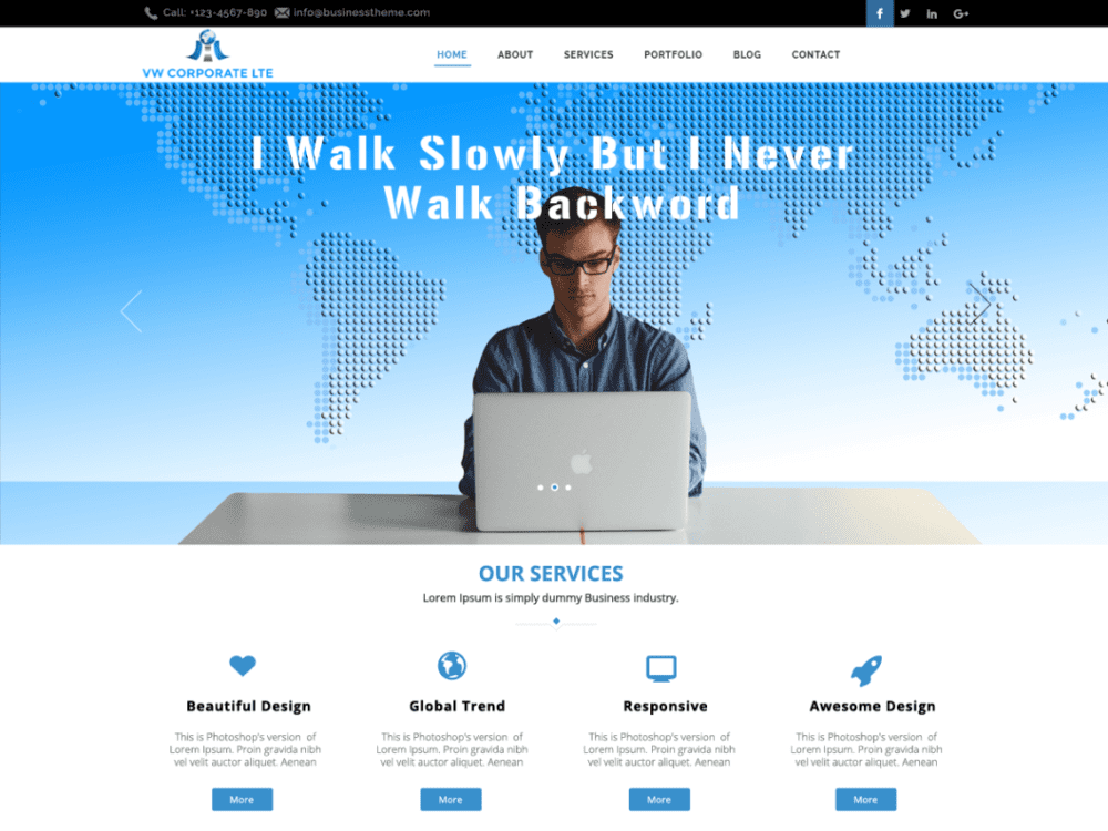 Free VW Corporate Lite Wordpress theme