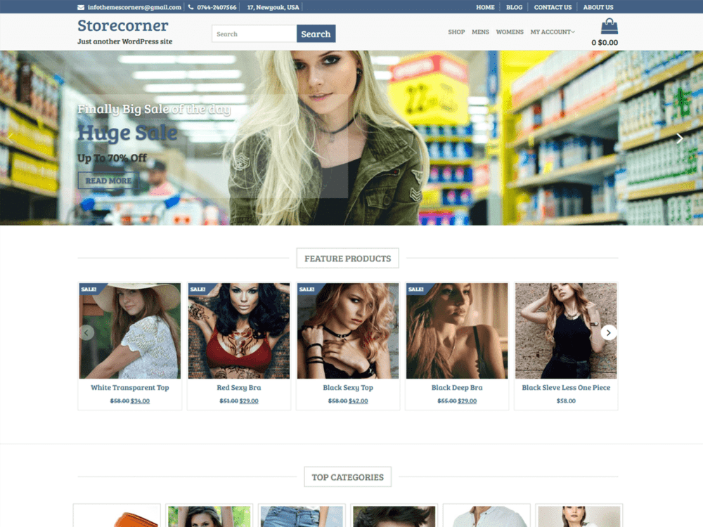 Download Free Store Corner WordPress theme - JustFreeWPThemes