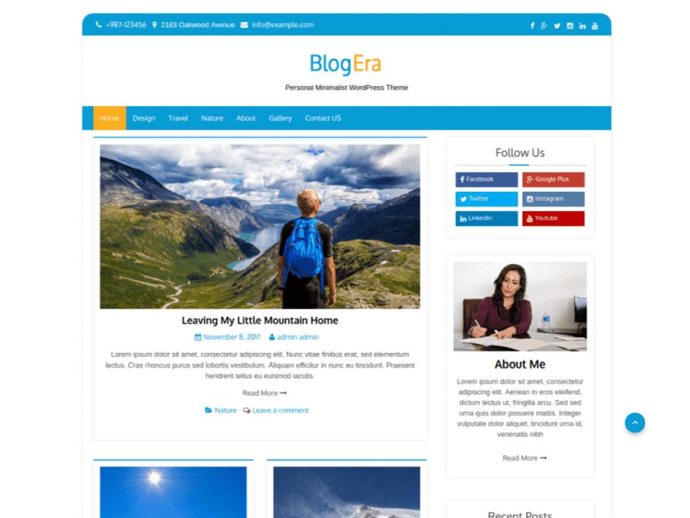 Download Free Blog Era WordPress theme - JustFreeWPThemes
