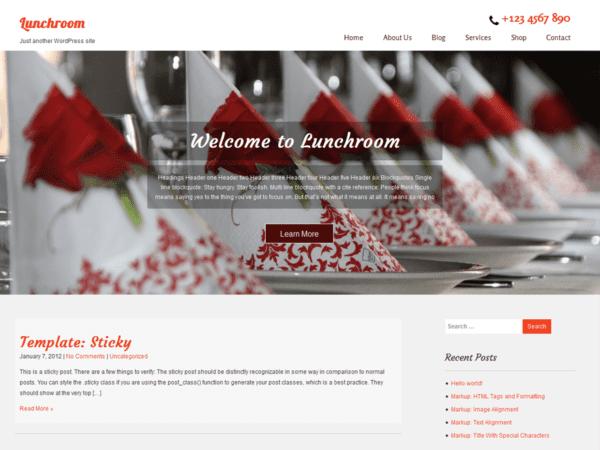 Free Lunchroom WordPress theme