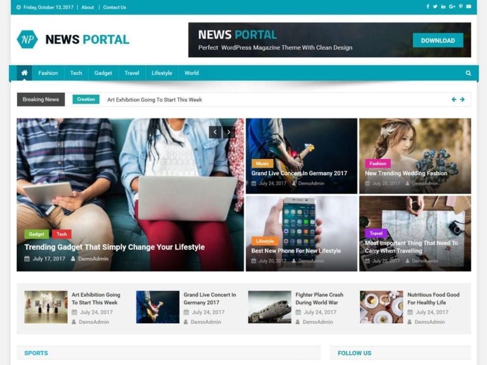 Download Free News Portal WordPress theme - JustFreeWPThemes