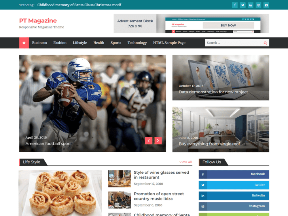 Download Free PT Magazine WordPress theme - JustFreeWPThemes