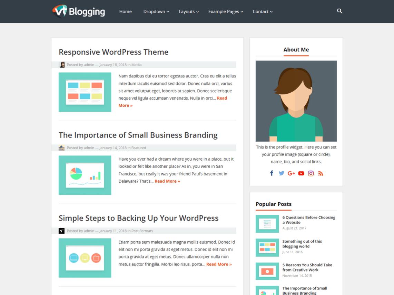 Download Free Vt Blogging WordPress theme - JustFreeWPThemes
