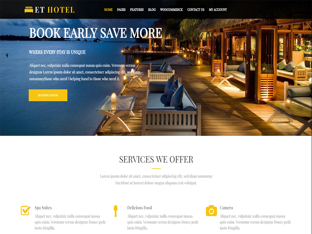 Download Free ET Hotel WordPress theme - JustFreeWPThemes