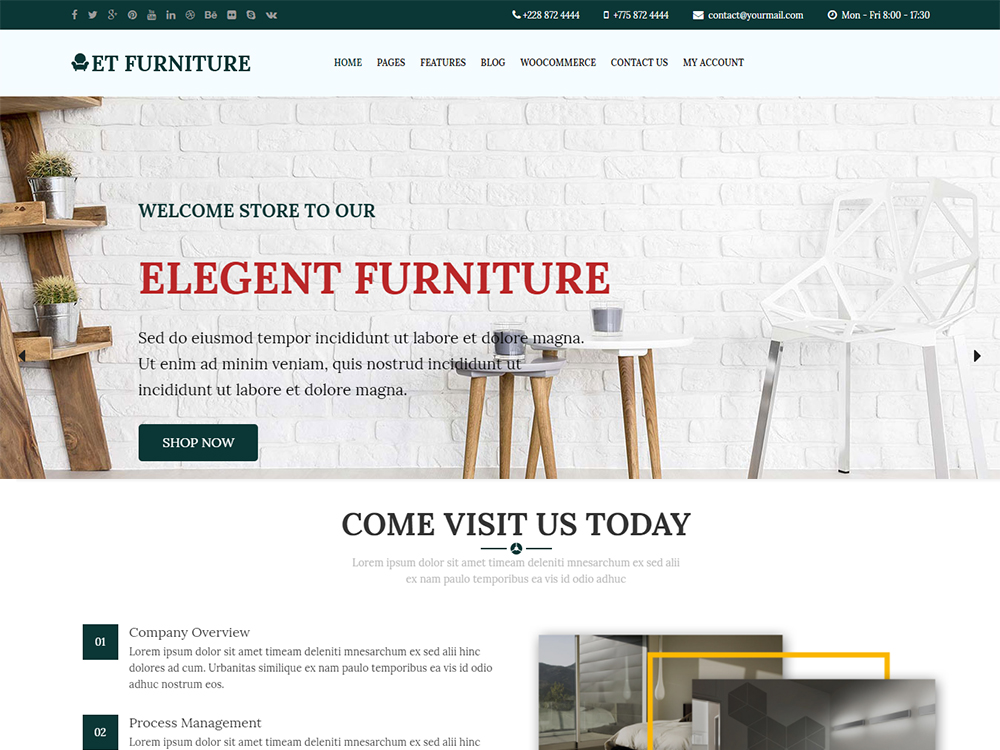 Download Free ET Furniture WordPress theme - JustFreeWPThemes