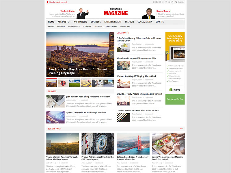 Download Free Advanced Magazine Wordpress theme
