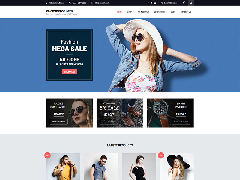 free ecommerce gem wordpress theme