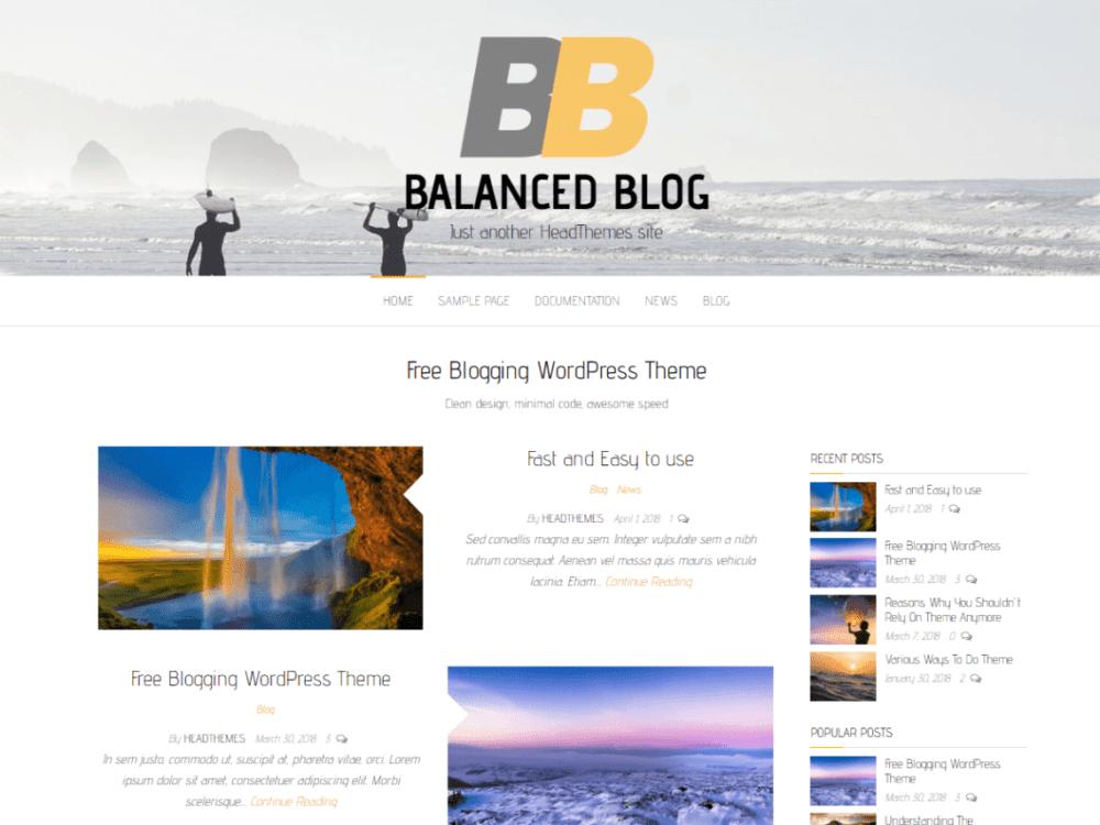 Free Balanced Blog Wordpress theme