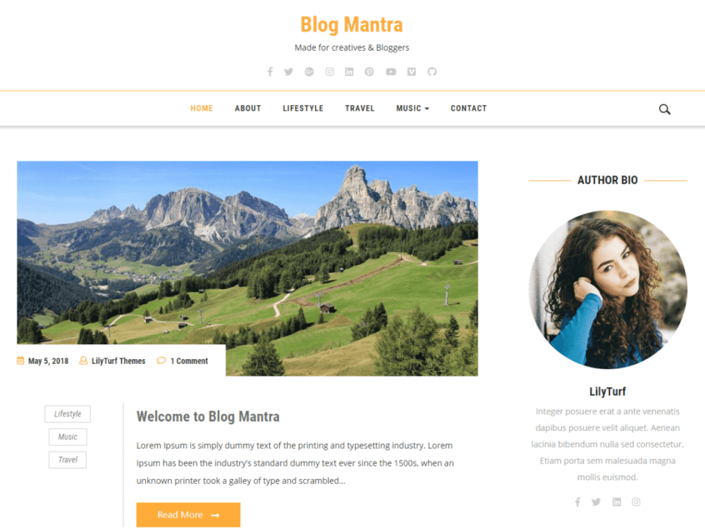Free Blog Mantra Wordpress theme