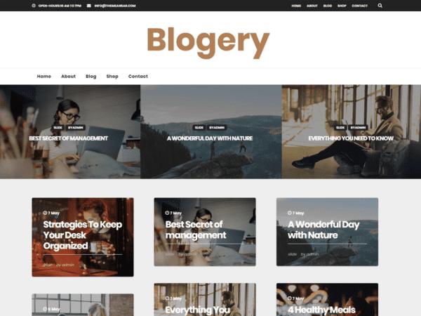 Free Blogery Wordpress theme