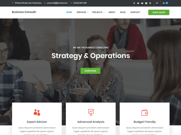 Free Business Consultr Wordpress Theme