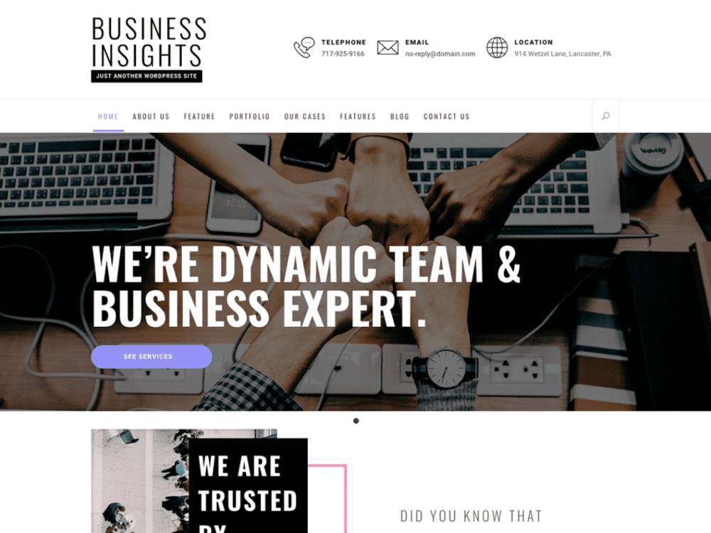 Free Business Insights Wordpress theme