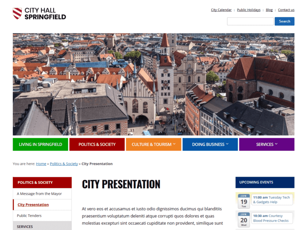 Free City Hall WordPress theme