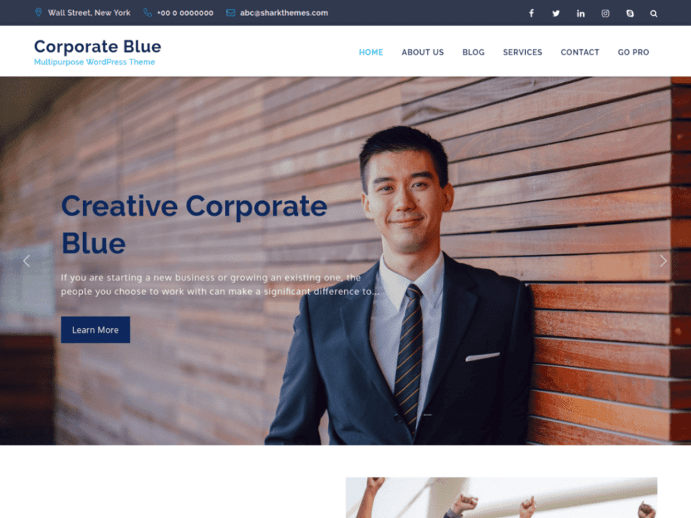 Free Corporate Blue Wordpress theme