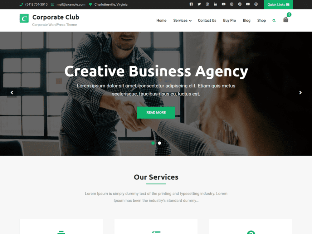 Free Corporate Club Wordpress theme