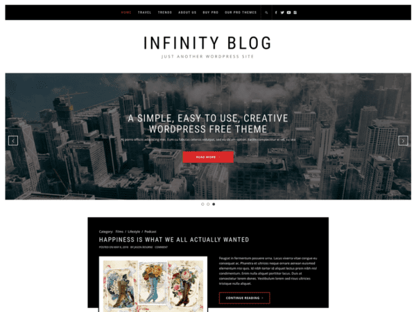 Free Infinity Blog Wordpress theme