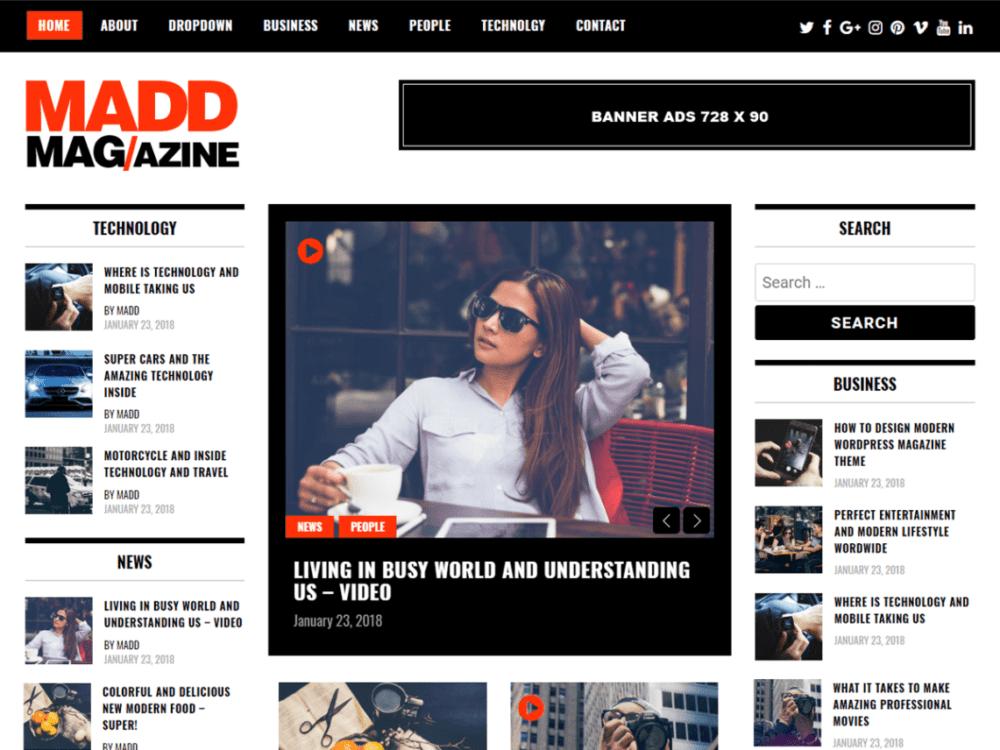 Free Madd Magazine Wordpress Theme