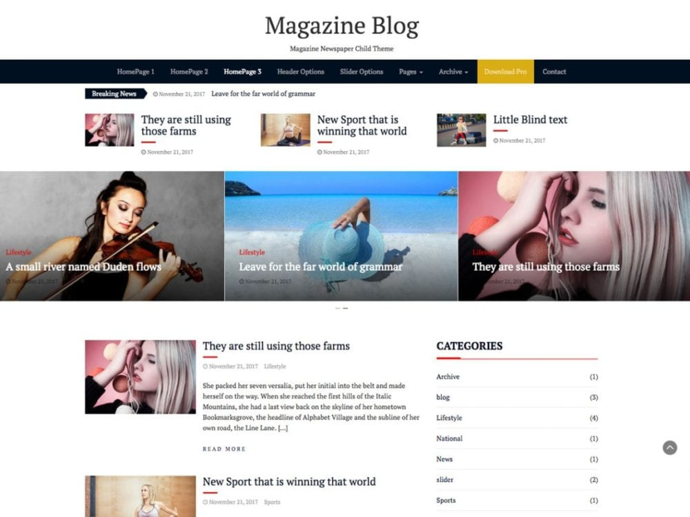 Free Magazine Blog Wordpress Theme