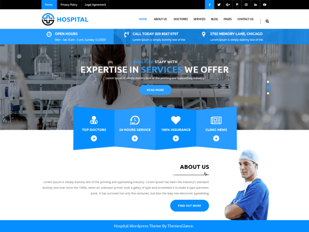 Free Medical Hospital Wordpress Theme